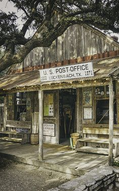 """This is the entrance to the old post office/general store in Luckenbach. The bar is in the back and there is music all the time. Like they say, """"Everybody's somebody in Luckenbach."""" Photo by Scott Norris courtesy of Fine Art America Old Western Towns, Western Art, Westerns, Only In Texas, Old Post Office, Rio, Texas Forever, Old Country Stores, Loving Texas"""