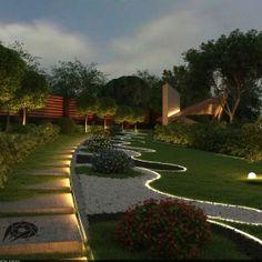 Modern Backyard, Backyard Garden Design, Small Garden Design, Modern Landscaping, Outdoor Landscaping, Patio Design, Backyard Patio, Outdoor Garden Lighting, Landscape Lighting