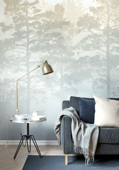 Misty Pine Forest by M. Stenströmer #wallpaper #wallmurals #interiordesign #scandinaviandesign