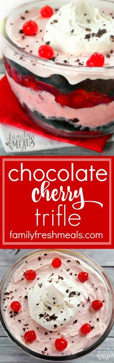 This is a holiday dessert recipe you must try. SO easy to make!  Chocolate Cherry Trifle