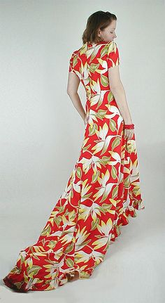 40s Vintage Hawaiian Red Print Holoku Dress with Train by denisebrain, via Flickr