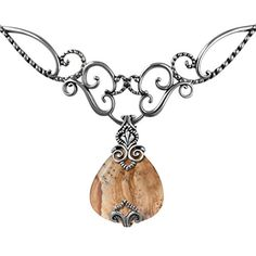 Relios Sterling Silver Choker Necklace with Picture Jasper Pendant Enhancer - CHECK IT OUT @ http://www.finejewelry4u.com/jew/100688/150720