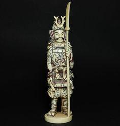 Okimono Samurai Alte Beinschnitzerei statuette Figur antique Japan 19. Jh Meiji