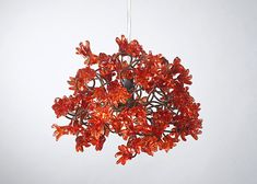 Ceiling lamp Red flowers by Flowersinlight on Etsy, $119.00