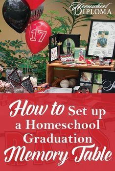 graduation table A graduation memory table is a wonderful way to decorate your graduation party and honor your hardworking, homeschool senior. Start early, gathering photos, mementos, and decorations months before your high school graduation event. Homeschool Graduation Ideas, Graduation Party Planning, Graduation Diy, Kindergarten Graduation, Homeschool High School, Graduation Celebration, Graduation Party Invitations, Graduation Decorations, High School Graduation