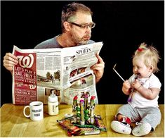 Great and original father and daughter portraits of Dave Engledow. Awesome Father Daughter Portraits with Philips Avent bottle #Toddler #PhilipsAVENT