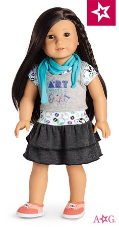 Z's sightseeing outfit: Z will be ready to take interesting videos all over town in this outfit. It features: a drop-waist dress, a gray screen-printed tank, a jersey scarf and two-tone canvas sneakers. $32