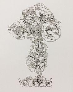 米津玄師さんのイラスト Vocaloid, Robot Concept Art, Drawing Studies, Drawing Expressions, Robot Design, Pen Art, Sci Fi Art, Line Drawing, Art Tutorials