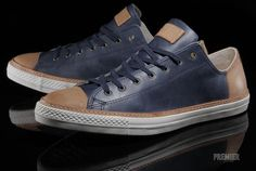Converse Leather Navy Blue Tan | Dad 2 Your Swag | Pinterest