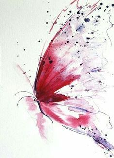Pink watercolor butterfly art