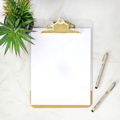 Gold Clipboard & Pen