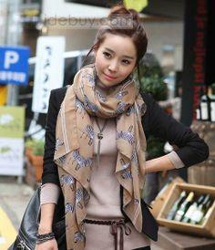 ロング ファッション クール シマウマ コットン スカーフ ショール