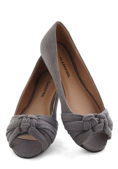 grey flat peep toe tied shoes $33 Simple Twist of Slate Flat - Grey, Solid, Casual, Flat