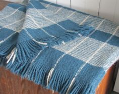Modern Rustic Hand Woven Wool Camp Blanket, Country Cabin Seaside Coastal Beach Cottage Farmhouse Decor Teal Blue Wool Couch Throw Blanket