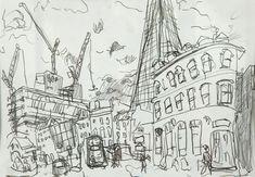 by Henry Anderson Brown Henry Anderson, Drawing School, Landscape Drawings, Urban Sketchers, Urban Landscape, Sketchbooks, Art School, Contour, Sketching