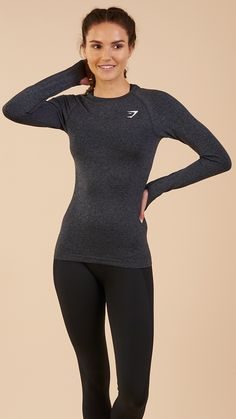 Introducing a new breed of Seamless, ready to keep up with the most intense workout. The Women's Vital Seamless Long Sleeve Top provides the ultimate comfort and support. Coming soon in Black Marl. #gymshark