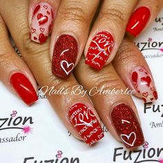 Try some of these designs and give your nails a quick makeover, gallery of unique nail art designs for any season. The best images and creative ideas for your nails. Heart Nail Designs, Valentine's Day Nail Designs, Holiday Nail Designs, Holiday Nails, Love Nails, Pink Nails, Pretty Nails, Heart Nail Art, Dot Nail Art