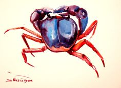 showantell:  Crab,, Original watercolor painting, 9 X 12 in, blue, red sea animal art, animal painting, crab wall art by ORIGINALONLY (29.00 USD) http://ift.tt/1t0gJ5t