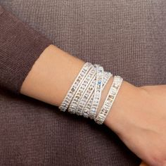 Chan Luu - Silver Shade and Nugget Single Wrap Bracelet on Pearl Leather, $170.00 (http://www.chanluu.com/bracelets/silver-shade-and-nugget-single-wrap-bracelet-on-pearl-leather/)