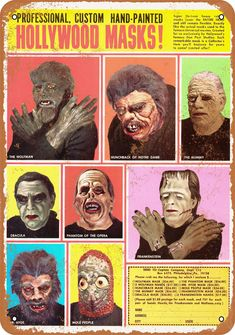 Classic Monster Movies, Classic Monsters, Monster Mask, Monster Toys, Halloween Masks, Happy Halloween, Halloween Pics, Hollywood Monsters, Horror Masks