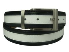 New Mens Marco Valentino Black and White Leather Belt with Brushed Silver Buckle 40 * Read more reviews of the product by visiting the link on the image.