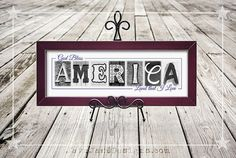 God Bless America - 4th of July Artwork - Patriotic Art - Made in USA - Patriotic Quote - Red White and Blue - Freedom - July 4th Decor