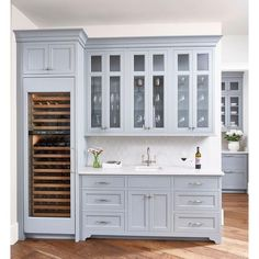 Blue Gray Butler Pantry Cabinets with Light Gay Arabesque Tiles ❤ liked on Polyvore featuring home, furniture, storage & shelves, cabinets, butler furniture and blue gray cabinets