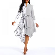 Polka Dot Vintage Dress Women Asymmetric Hem White Elegant Sweet Spring New Street Casual Stylish Slim Black Chic Midi Dresses Vestidos Vintage, Vintage Dresses, African Fashion Dresses, Fashion Outfits, Ladies Fashion, Dress Fashion, Womens Fashion, Fashion Edgy, Fashion Styles