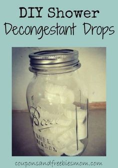 "DIY Shower Decongestant ""Drops""! Whether it's allergy or cold and flu, you'll want to have some of easy-to-make all natural decongestant drops to help you breathe better and ease sinus congestion! Great homemade gift for anyone under the weather! Check out how simple these are to make!"