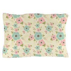 "Nostalgic flowers Pillow Case Beige seamless vintage pattern ""Nostalgic flowers""  $25.99"