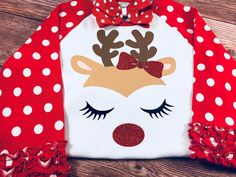 Polka Dot Raglan by SweetpeasBowsNmore on Etsy Girls Christmas Shirts, Christmas Vinyl, Shirts For Girls, Christmas Decor, Vinyl Shirts, Custom Shirts, Baby Keepsake, Lace Headbands, Boutique Bows