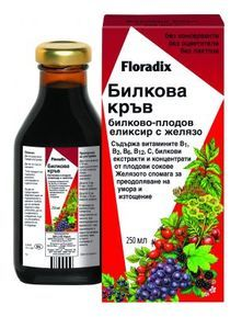 Floradix Herbal Blood - herbal fruity elixir iron, 250ml  Tested naturally strengthen and formulating agents in times of increased need for iron. Appropriate during the development of young children , teens , primarily for women, menstruation , pregnancy and lactation ; in uniform and low- calorie meal in a recovery in the second half of life.