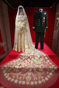 1947 Wedding of Princess Elizabeth to Prince Philip: Wedding Dress and Military Uniform on Display at Buckingham Palace