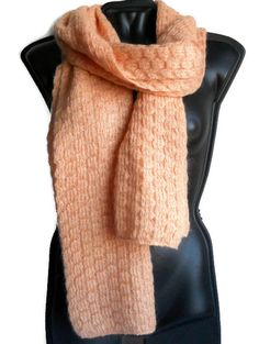 Peach Wool Mohair knit scarf for women Large neck scarf wool winter Woman accessories Gift for her Red Silk, Neck Scarves, Peach Colors, Womens Scarves, Hand Knitting, Gifts For Her, Women Accessories, Wool, Mediterranean Diet