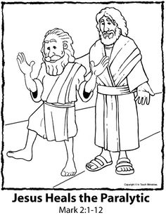 jesus heals a paralytic coloring page - jesus heals a paralyzed man sunday school pinterest