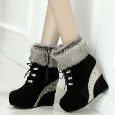 Shoespie Street Style Color Block Wedge Heel Ankle Boots