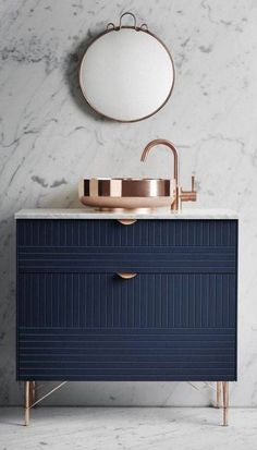 brass, navy, and marble.
