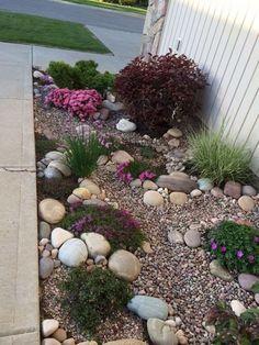 49 Pretty rock garden ideas on a budget - Garden Landscaping ideas - Rock Garden Design, Small Garden Design, Yard Design, Landscaping With Rocks, Front Yard Landscaping, Landscaping Ideas, Patio Ideas, Backyard Ideas, Hillside Landscaping