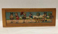 "Vintage Wood Pencil Box Painted Children Sliding Top Drawer 9x3x7/8"" #EdwardStanley"