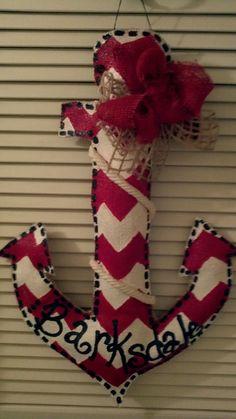 Burlap anchor door hanger. $35.00, via Etsy.