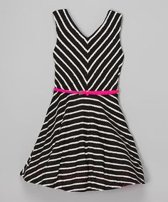 Look at this Black & Neon Pink Stripe Belted Dress on #zulily today!
