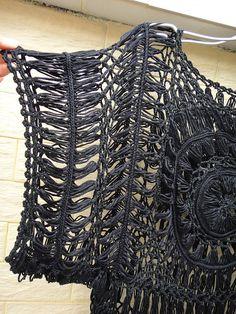 Encaje negro túnicas las mujeres Crochet por Tinacrochetstudio