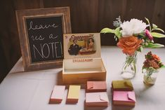 Instead of a traditional guestbook, we found an old cigar box at the flea market and provided cards and envelopes for guests to write little notes on and add to the box.