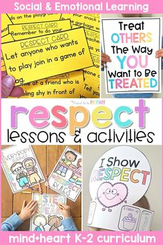 Teach children about respect, honesty, and gratitude at school and in the classroom with these social emotional learning lessons and hands-on activities for kids. Children will build social skills with picture books and writing lessons, respect games, role playing, and more. #socialemotionlearning #classroommanagement #socialskills #teachingrespect #respectactivities