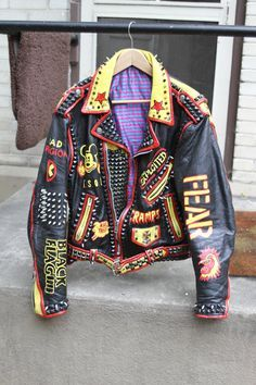 These are hand painted Vintage Leather Punk Rock Jackets With Studs and Spikes Punk Fashion, Diy Fashion, Painted Leather Jacket, Mode Punk, Punk Jackets, Battle Jacket, Painted Clothes, Painting Leather, Inspiration Mode