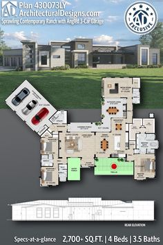 Contemporary House Plan 430073LY exclusive from Architectural Designs - 2700+ square feet of living space with 4 bedrooms and 3.5 baths. AD House Plan #430073LY #adhouseplans #hillcountry #contemporary #texashomes #architecturaldesigns #houseplans #homeplans #floorplans #homeplan #floorplan #houseplan Contemporary House Plans, Modern House Plans, Porch Trellis, Plumbing Drawing, 3 Car Garage, Beautiful Home Designs, Built In Grill, Roof Plan, Country House Plans