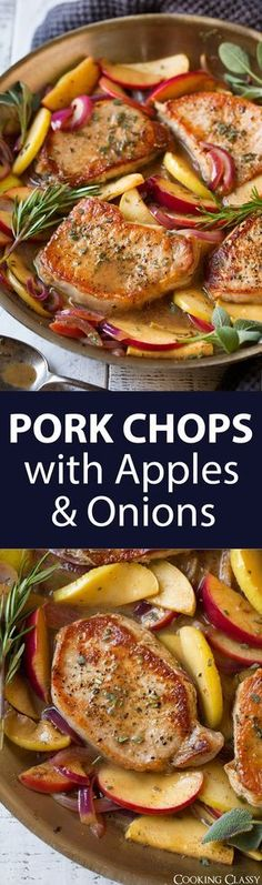 Pork Chops with Apples and Onions - the perfect fall dinner! Easy, flavorful and oh so delicious!!