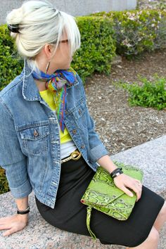 the MRS. & the MOMMA: denim, scard, green snakeskin, blue suede