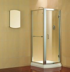 Hinged doors for shower enclosures