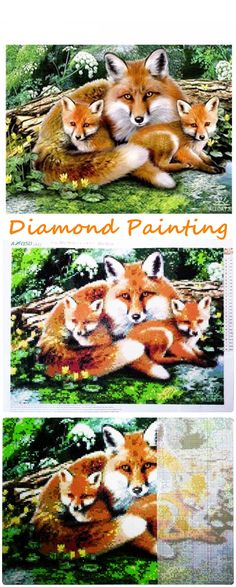 Diamond Painting Cross Stitch Fox Family.  They say Fox is cunning but they are so cute.  Check them out at our store.